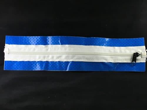 "Zipper Inspection Door - 120"" Straight Zipper - Self Adhesive CLEAR/BLUE"